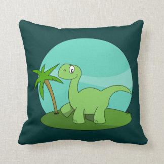 Cute Green Dinosaur Throw Pillow