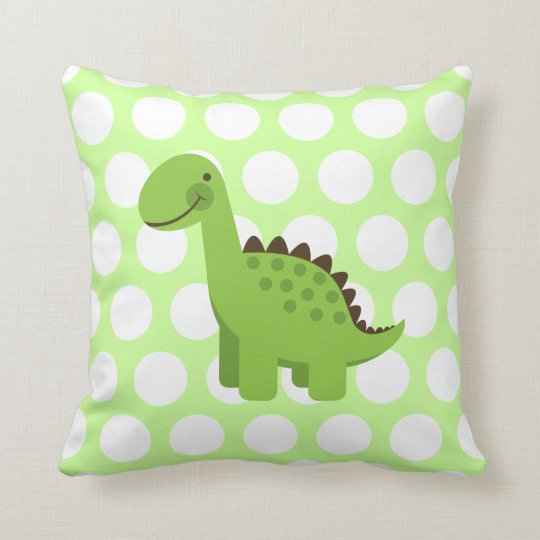 Cute Green Dinosaur Throw Pillow