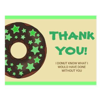 Cute Green Donut Thank You Postcard