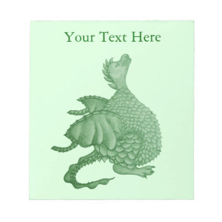 cute green dragon mythical fantasy creature art notepad