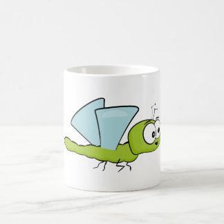 Cute green dragonfly coffee mug