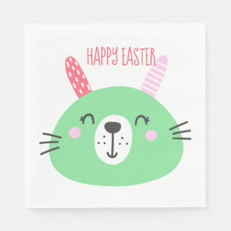 Cute Green Easter Bunny Paper Napkin