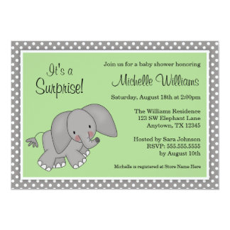 Cute Green Elephant Gender Neutral Baby Shower Card