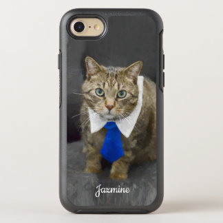 Cute green-eyed brown tabby cat wearing a blue tie OtterBox symmetry iPhone 8/7 case