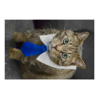 Cute green-eyed brown tabby cat wearing a blue tie poster