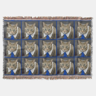 Cute green-eyed brown tabby cat wearing a blue tie throw blanket