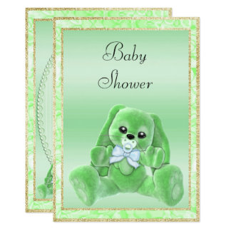 Cute Green Floppy Ears Bunny Baby Shower Card