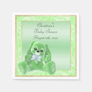Cute Green Floppy Ears Bunny Baby Shower Napkin