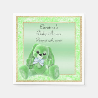 Cute Green Floppy Ears Bunny Baby Shower Paper Napkins