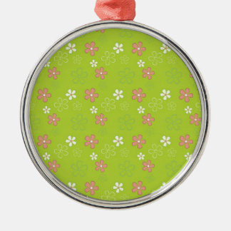 Cute Green Flower Pattern Silver-Colored Round Ornament