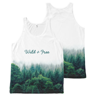 Cute Green Forest Wild and Free All-Over-Print Tank Top