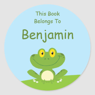 Cute Green Frog Book Label