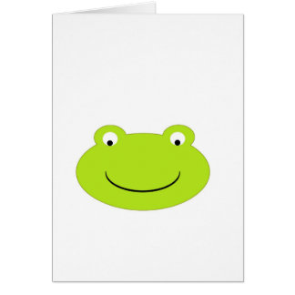 Cute Green Frog Face Card