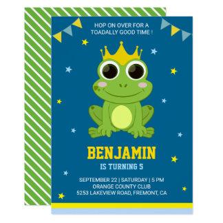 Cute Green Frog Kids Birthday Party Invitation