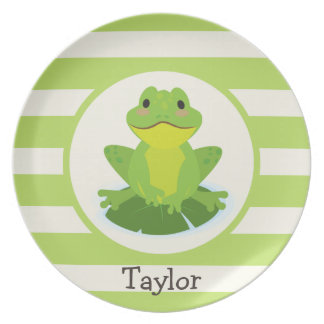 Cute Green Frog on Striped Pattern Plate