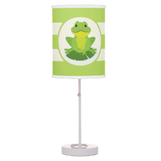 Cute Green Frog on Striped Pattern Table Lamp