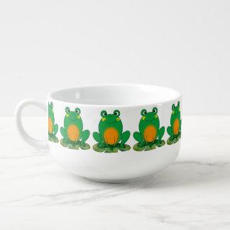 cute green frog soup mug