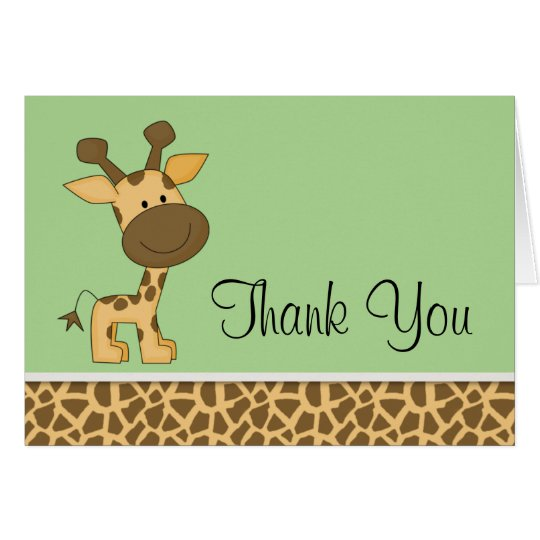 Cute Green Giraffe Thank You Card