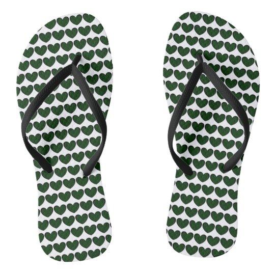 Cute Green Hearts Pattern Flip Flops