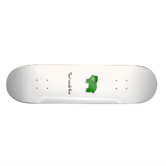 Cute green hippo skateboards