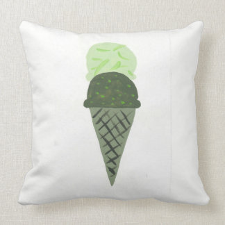 "Cute Green Ice Cream Cone Pillow ""Life is Sweet"""