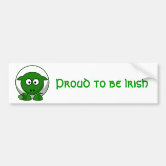 Cute Green Irish Sheep Cartoon Bumper Sticker