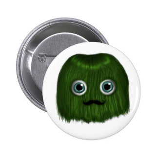Cute Green Moustache Monster Badge/Button 2 Inch Round Button