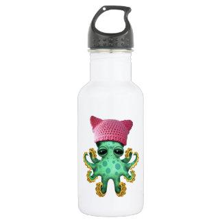 Cute Green Octopus Wearing Pussy Hat 532 Ml Water Bottle