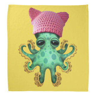 Cute Green Octopus Wearing Pussy Hat Bandana