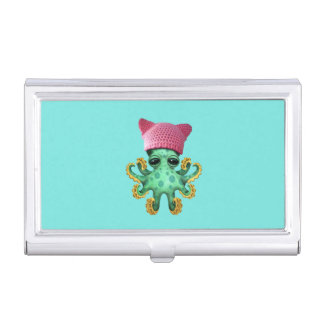 Cute Green Octopus Wearing Pussy Hat Business Card Holder
