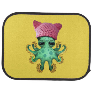Cute Green Octopus Wearing Pussy Hat Car Mat