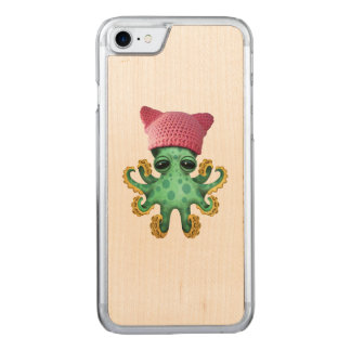 Cute Green Octopus Wearing Pussy Hat Carved iPhone 8/7 Case