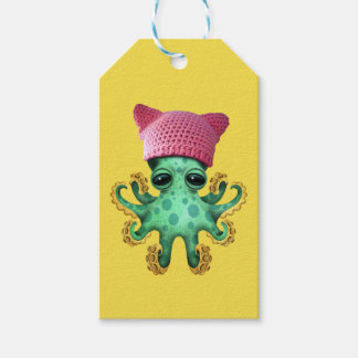 Cute Green Octopus Wearing Pussy Hat Gift Tags