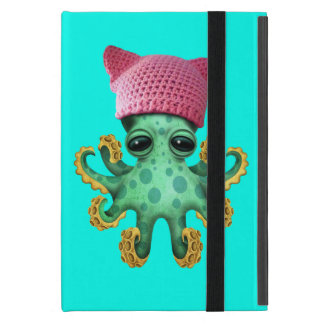 Cute Green Octopus Wearing Pussy Hat iPad Mini Cover