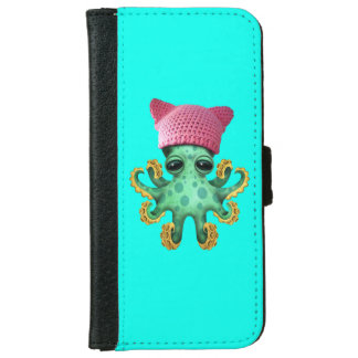 Cute Green Octopus Wearing Pussy Hat iPhone 6 Wallet Case