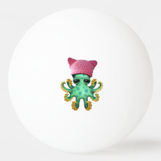 Cute Green Octopus Wearing Pussy Hat Ping Pong Ball