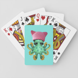 Cute Green Octopus Wearing Pussy Hat Playing Cards