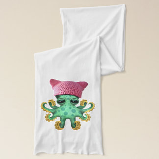 Cute Green Octopus Wearing Pussy Hat Scarf