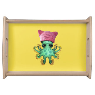 Cute Green Octopus Wearing Pussy Hat Serving Tray