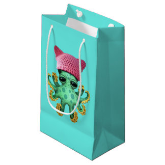 Cute Green Octopus Wearing Pussy Hat Small Gift Bag