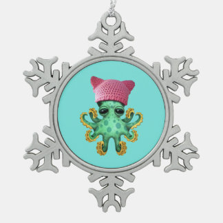 Cute Green Octopus Wearing Pussy Hat Snowflake Pewter Christmas Ornament