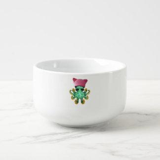 Cute Green Octopus Wearing Pussy Hat Soup Mug