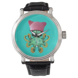 Cute Green Octopus Wearing Pussy Hat Watch