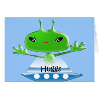 Cute Green Outer Space Alien Hugs with Spaceship Card
