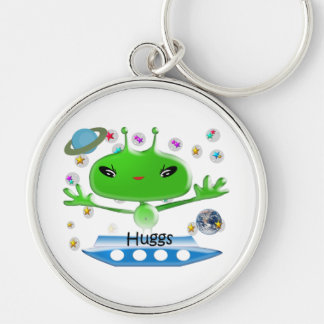 Cute Green Outer Space Aliens with Space Ship Keychain