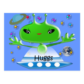 Cute Green Outer Space Aliens with Space Ship Postcard