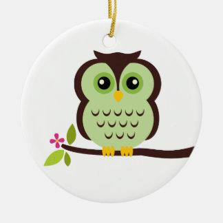 Cute Green Owl Ceramic Ornament