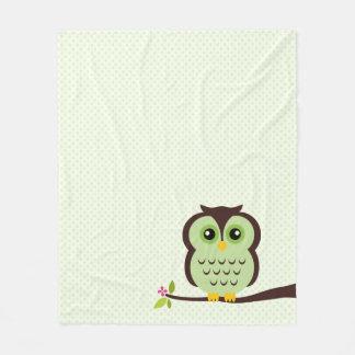 Cute Green Owl Fleece Blanket