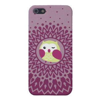 Cute Green Owl in Purple Starburst pattern iPhone 5/5S Case