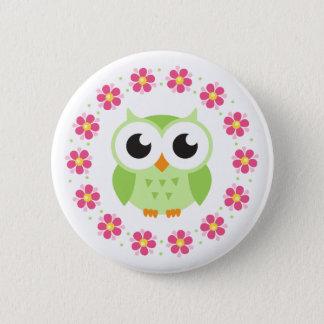 Cute green owl inside pink flower border 2 inch round button